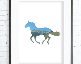 Instant Download Printable, Print Art,  modern art, digital art, Print, horse art, horse print
