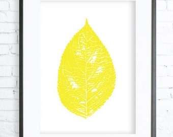 Instant Download Printable, Yellow Leaf, Print Art,  modern art, digital art, Print, leaf art, leaf print