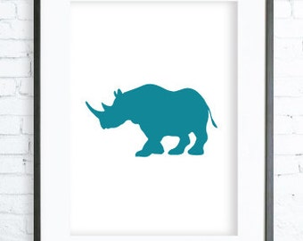 Instant Download Printable, Turquoise Rhinoceros Print,Turquoise Rhinoceros Wall Art, Blue Print, Blue Rhinoceros, Poster, office artwork