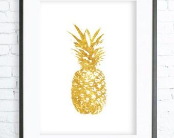Gold Pineapple Pattern Print Art Modern Digital