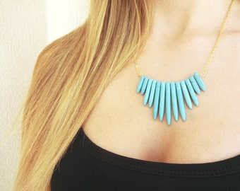 Turquoise Howlite Spike Necklace
