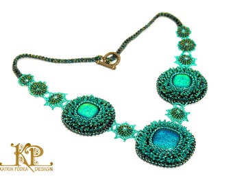 OOAK bead embroidery necklace Green Energy with dichroic glass cabochons