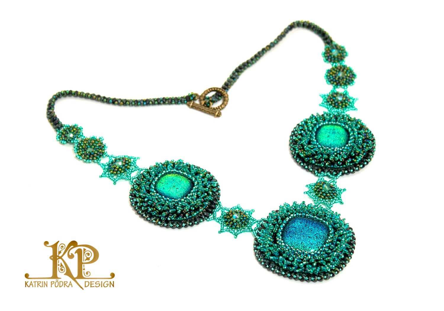 Ooak bead embroidery necklace green energy with dichroic glass