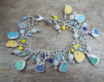 Sea Pottery Sterling Silver Charm Bracelet with Sea Shell Charm