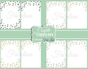 Glitter Confetti Overlay, Gold, Silver, Black, Glitter, Digital Paper, 5x7, Scrapbook, Instand Download