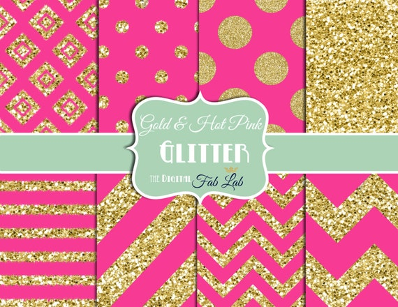 Gold and Hot Pink Glitter Paper Sparkling Chevron Stripes