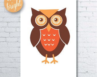 Cute Owl Print.  Retro Style Owl printed on 300gsm Cardstock A