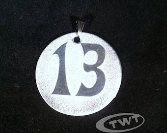 Etched Aluminum 13 Pendant