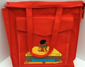 Vintage Children's Canvas Book Bag Tote Red with Cute Graphic Decal
