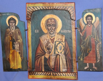 Vintage Hand Painted Orthodox Tryptich Icon Saint Nicholas