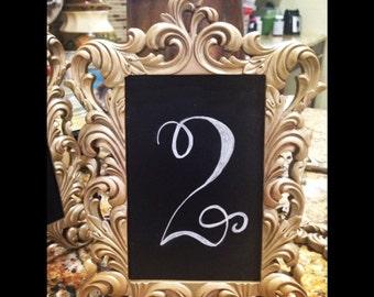 Vintage Gold 4X6 Chalkboard Table Number Frames (1-10)