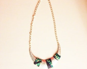 Silver necklace - green and blue accents