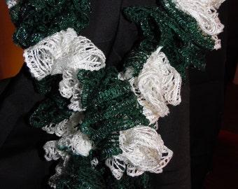 Handmade Green/White Sashay Ruffle Scarf