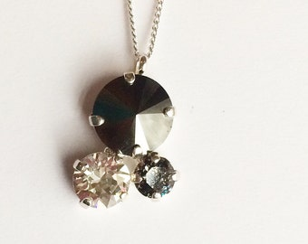 3 stone  Swarovski bubble necklace