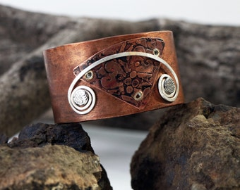 Handmade Copper Cuff, Etched Copper Bracelet