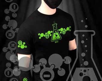 """GodEmperor 23 """"CHEMICAL ELIXIR"""" goth industrial rivethead shirt with removeable gauntlets and UV reactive design"""