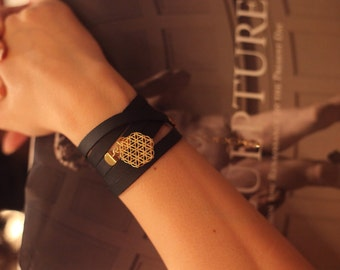 Flower of life, Symbolic jewelry, Sacred geometry jewelry, Black leather bracelet, Leather bracelet woman