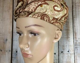 Skull Cap - Smoking Hat - Smoking Caps - Pillbox Hat - African Hat - Unique Hats - Skull Caps - Gold Hat