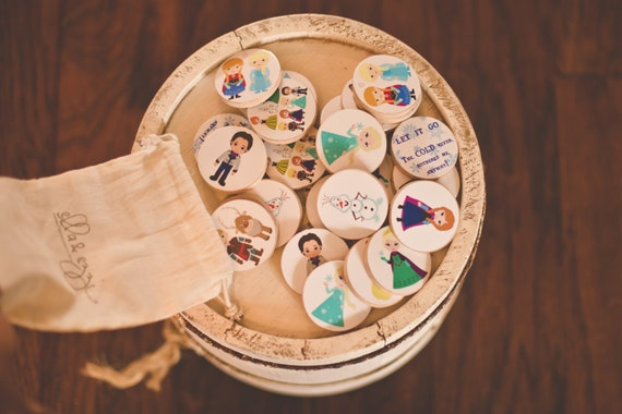 Frozen Wooden Disc Memory Matching Game, Frozen Party, Frozen Gift, Anna & Elsa, Montessori, Wooden Toy, Educational toy