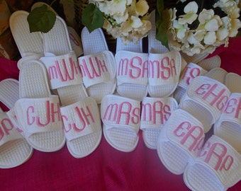 Slippers, Bride, Wedding, Bridesmaids, Mothers Day, Birthday, Monogrammed, Personalized, Gift, Wedding Slippers