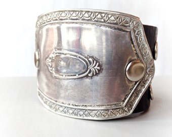 Antique Victorian sterling silver artisan cuff bracelet upcycled brown leather