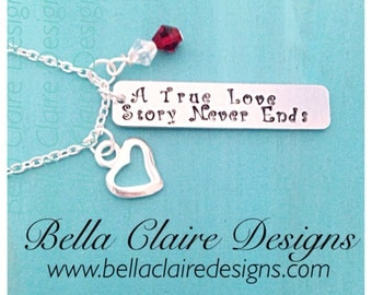 A True Love Story Never Ends necklace, Personalized love story bar necklace, love bar necklace,  hand stamped bar necklace, love jewelry, Va