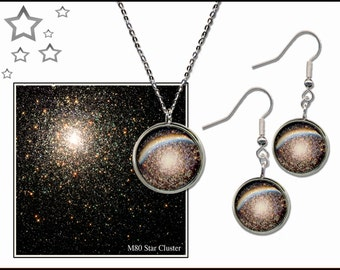 Silver Star Cluster Pendant and Earrings Gift Set with informative Photo Gift Card.