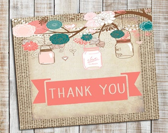 Burlap Rustic thank you note card, _54