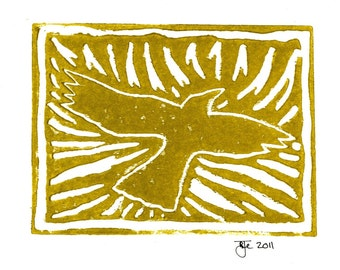 "Crow Linocut Print on 5""x7"" Blank Card with Envelope/Gold"