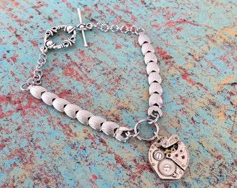 Crawford Watch Bracelet, Shell Watch Band, Watch Movement Bracelet, Silver Bracelet, Steampunk Bracelet, Charm Bracelet, Watch Band Bracelet
