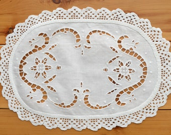 Crochet Tablecloth, Pure Linen Napkins Place Mats Table Runner Dressing Scaf Handmade Hand Embroidered Lace border Wedding Christmas Gift