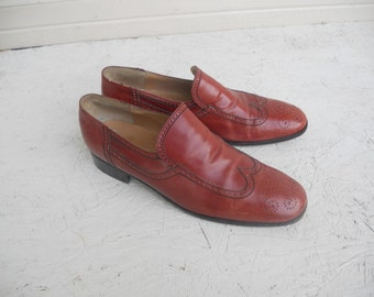 Vintage Men's Rossi Italian Leather Wingtip Dress Shoes 9.5 B FREE SHIPPING