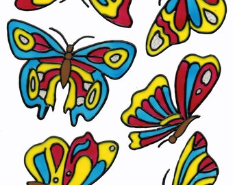 Hand-painted window color window image WiCo removable 6 butterflies (036)