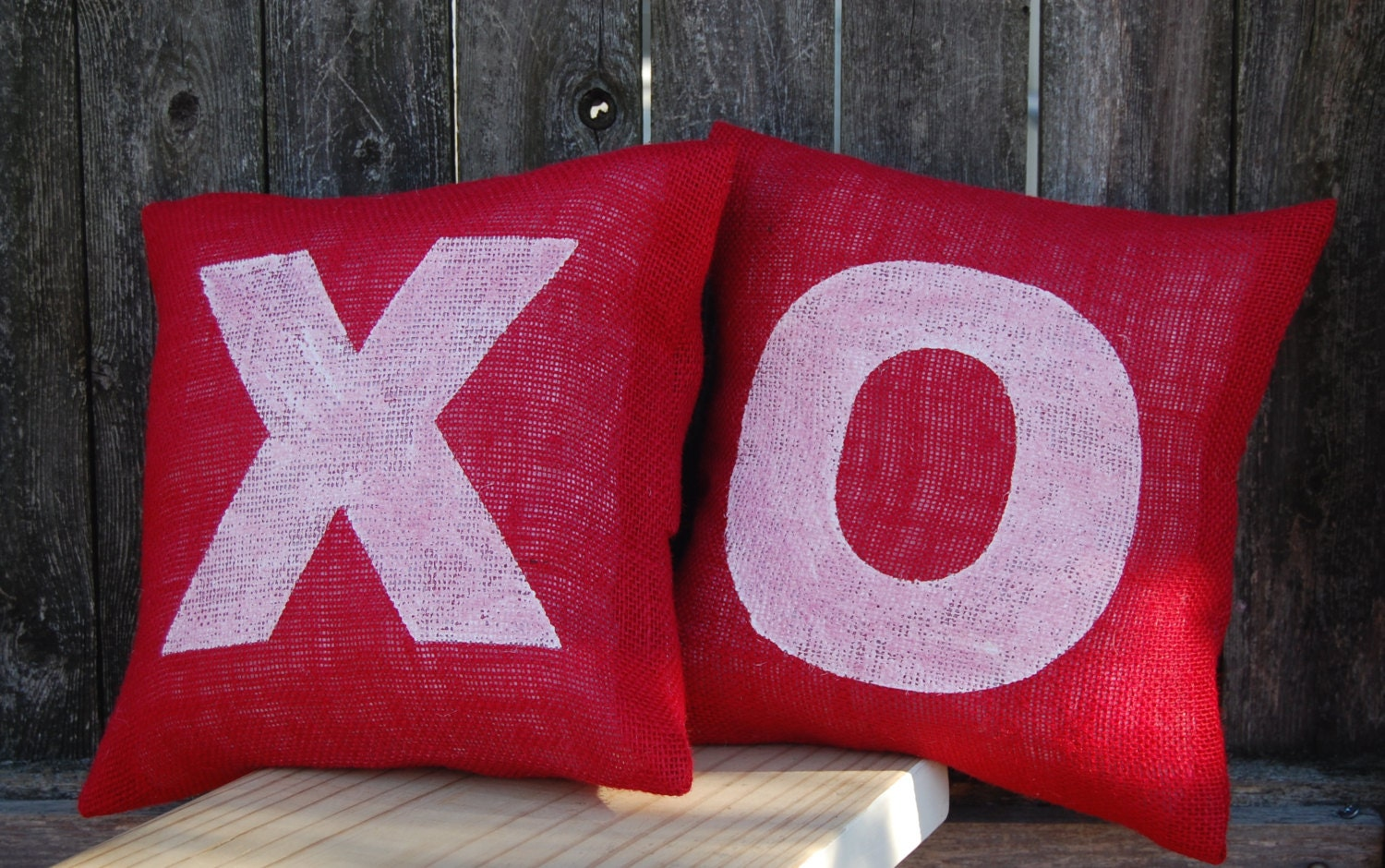 Decorative Valentine Pillows : Hugs & Kisses Pillow Valentines Day Gift Rustic Valentine