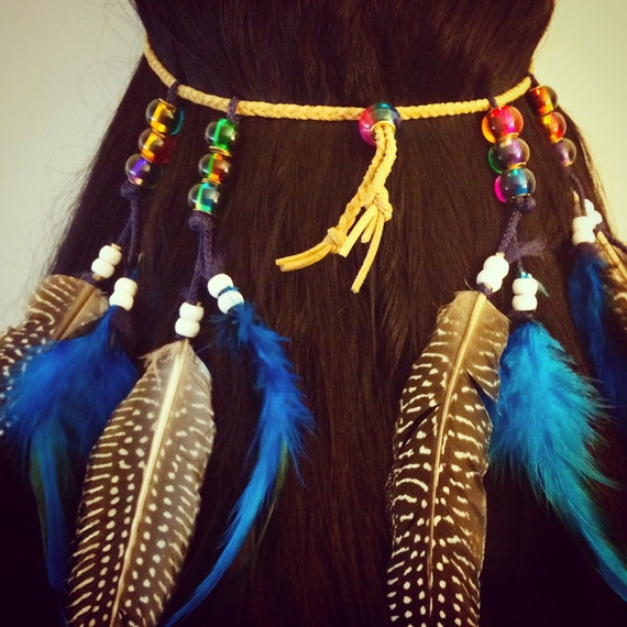Rainbow, Feather hair comb, bridal hair comb, feather extension, feather clip, hippie hair, boho headband, boho accessory, extensions long