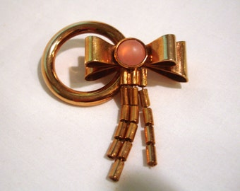 Vintage 1980's Bow Pin, Bow Brooch