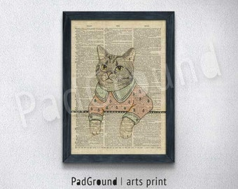 Dictionary Cat Art Print, illustration Wall Decor, Cat Poster, Home Wall Hanging, Unique Gift Linen Print Frame - CT26