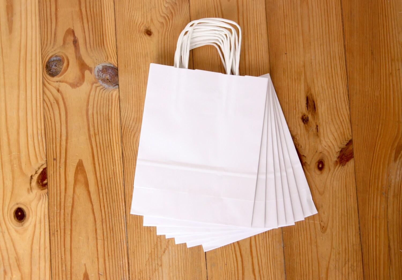 sac en papier blanc eco sac en papier avec poign es petit. Black Bedroom Furniture Sets. Home Design Ideas
