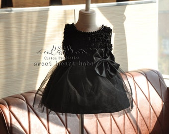 Flower Girl Dress -Black tutu flower girl dress -party dress -black flower girl dress - Baby tutu  Dress -  tulle Flower girl Dress -sw03