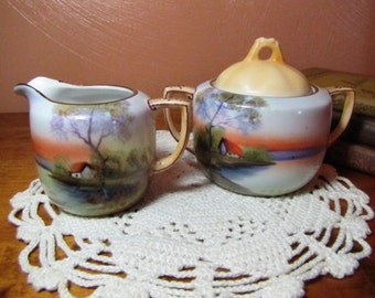 "Vintage Noritake Hand Painted ""Tree in Meadow"" Sugar Dish and Creamer"