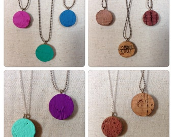 wine cork necklace - wine cork jewelry - upcycled wine cork - **FREE SHIPPING**