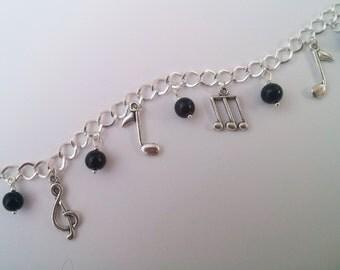Music Bracelet , Silver Charm Bracelet , Silver Bracelet , Black Bracelet , Onyx , Music Notes , Musician Gift , Handmade Jewelry , Gift