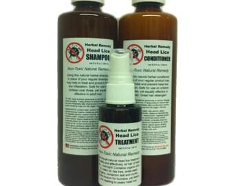 3 pc set -  Non-Toxic Herbal HEAD LICE Remedy
