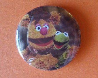 """Foozie Bear and Kermit   The Muppet Show  1"""" pin back button"""