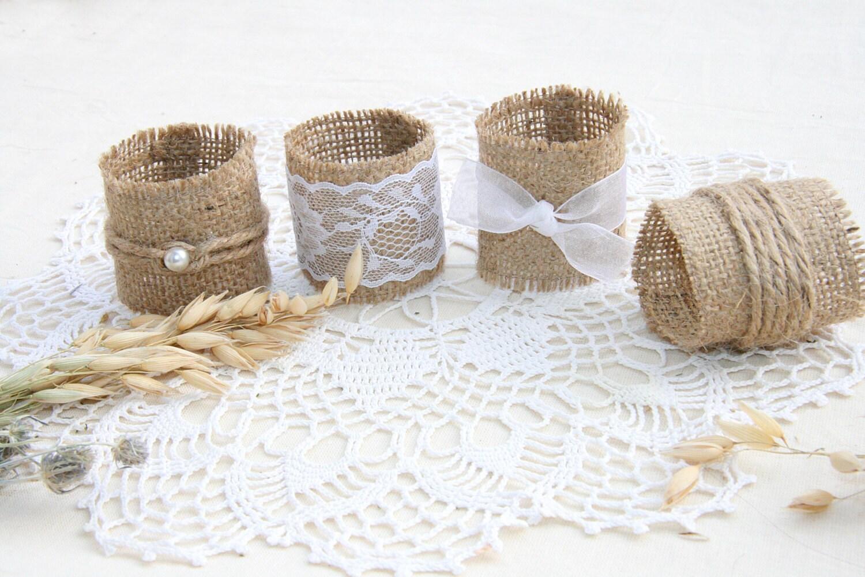 Burlap Wedding Napkin Rings Rustic Wedding Decor Rustic