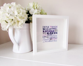 Personalized House Warming Gift Framed Print Personalised Word Art Unique present Personalised Present Framed Bespoke House Warming Gift