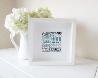 40th Birthday Gift, Personalised 40th, Personalised Birthday Gift, Framed Gift, 40th Birthday Present, Personalized Word Art, Bespoke Print