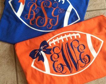 Personalized/Custom Florida Gator Monogram College Football Shirt With Bow-Go Gators-Gator Bait-University of Florida-UF-Chomp