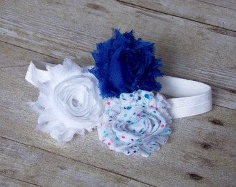 Shabby Rosette Trio Headband - Blue, White & Multi-Colour Dot {CHILD SIZE}