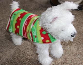 Christmas/Snow Patterned Fleece Dog Coat